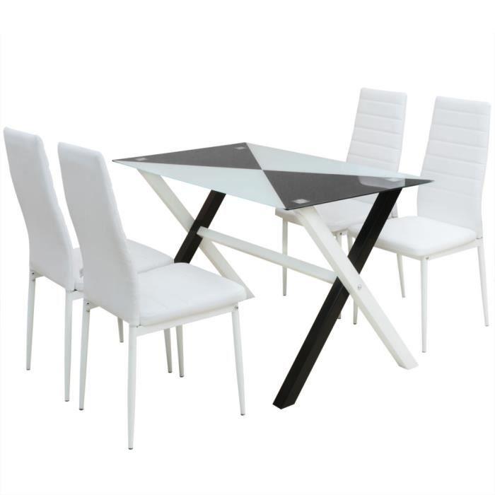 Vidaxl ensemble table et chaises de salle manger 5 pcs for Ensemble table et chaises salle a manger