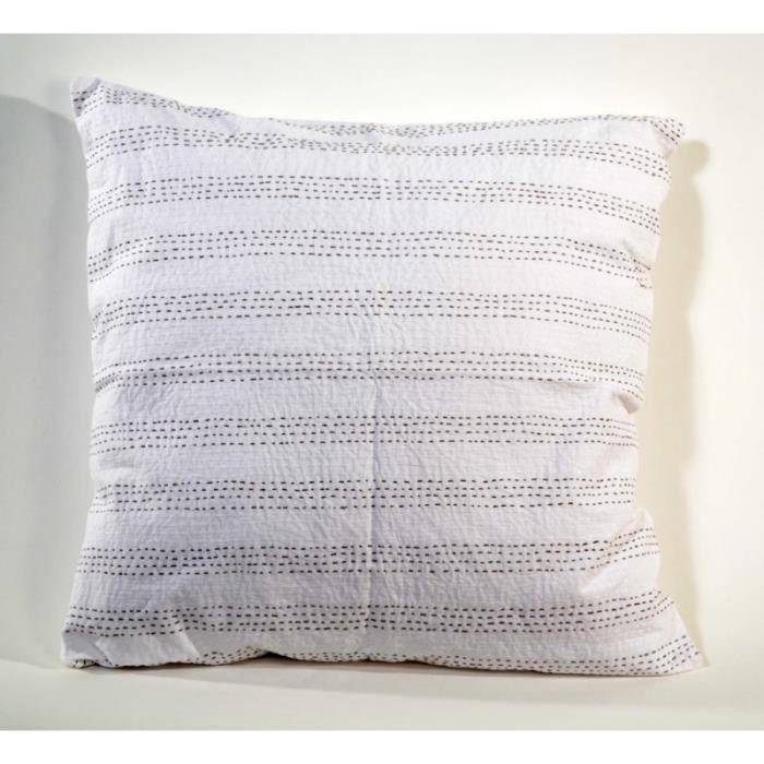 maison decoration accessoires housse de coussin blanc x surpiquee coton f  zen