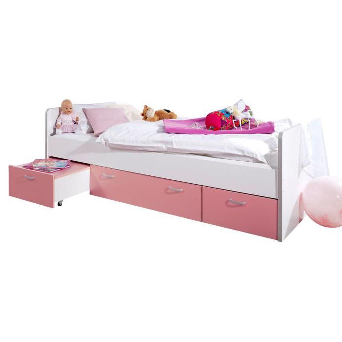 Lit combin 90x200 cm avec 2 tiroirs et une table chevet coloris blanc et rose rose achat for Lit et table de chevet