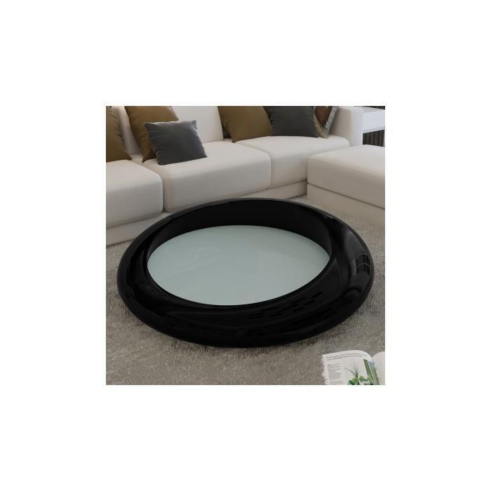 Table basse ronde noir verre achat vente table basse for Table basse ronde noire