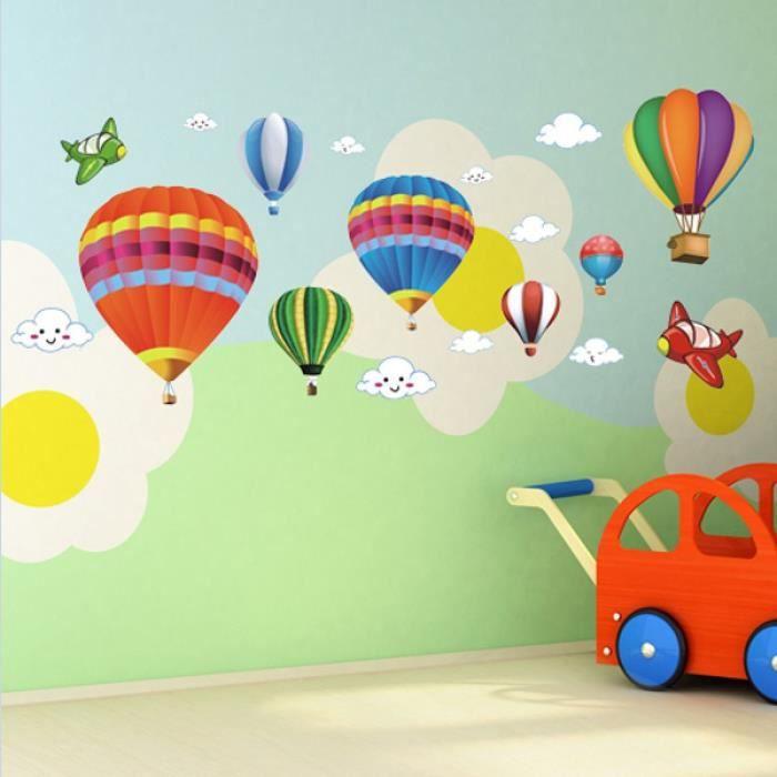 b081 amovible fond d 39 cran couleur montgolfi re chambre de b b enfants chambre de b b. Black Bedroom Furniture Sets. Home Design Ideas