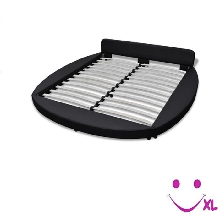 lit en similicuir rond 180 cm noir achat vente lit complet lit en similicuir rond 180. Black Bedroom Furniture Sets. Home Design Ideas