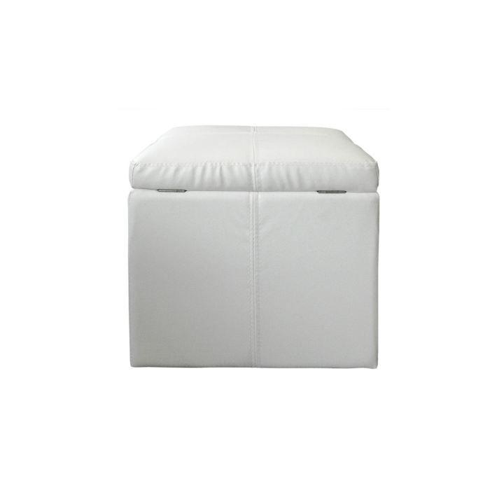 pouf coffre cuir blanc cube achat vente pouf poire mati re du rev tement simili cdiscount. Black Bedroom Furniture Sets. Home Design Ideas