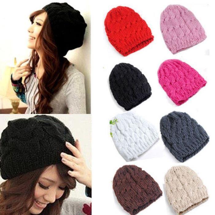 BONNET , CAGOULE bonnet femme laine BLANC hiver chapeau