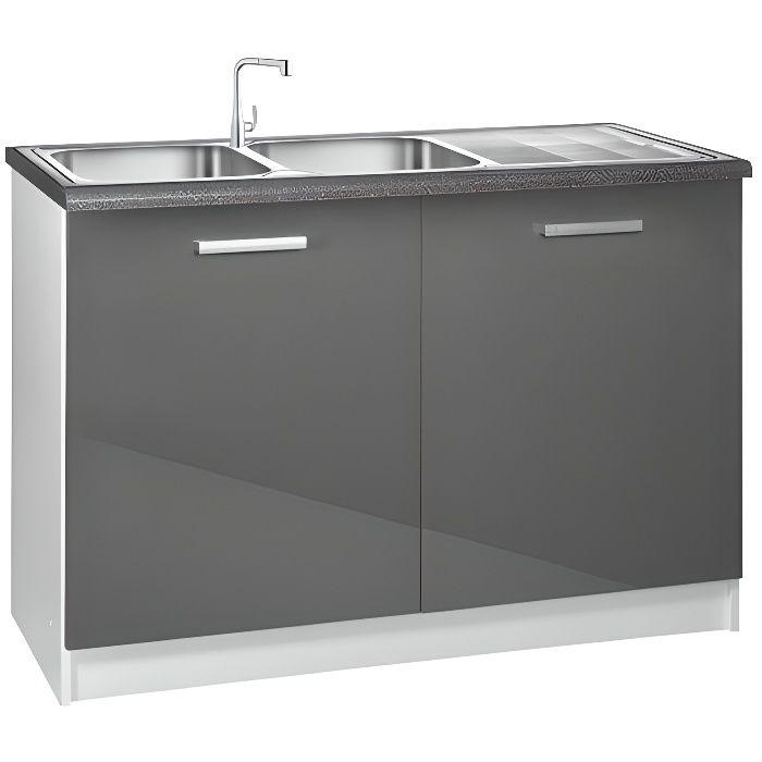 Meuble cuisine bas 120 cm sous vier tara achat vente for Meuble cuisine element bas