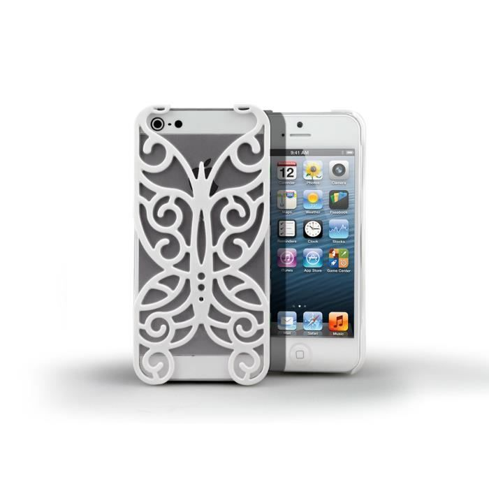 coque iphone 5 5s butterfly case blanc coque facade. Black Bedroom Furniture Sets. Home Design Ideas