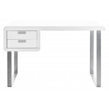 Bureau design blanc laqu 2 tiroirs torres achat vente - Bureau blanc laque ikea ...