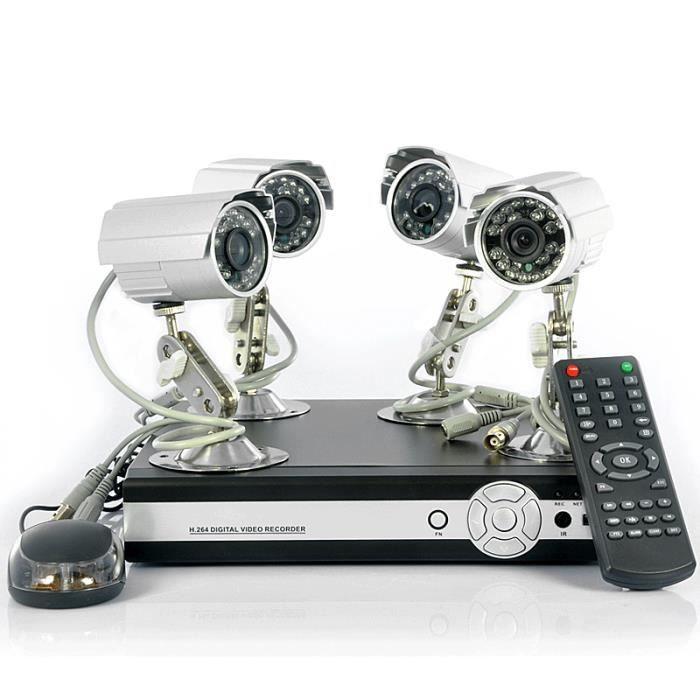 kit 4 cameras de surveillance ext rieures dvr 4 canaux ce kit de surveillance complet avec 4. Black Bedroom Furniture Sets. Home Design Ideas
