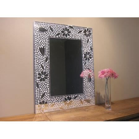 miroir mosaique design fleur 80cm x 60cm salon chambre. Black Bedroom Furniture Sets. Home Design Ideas
