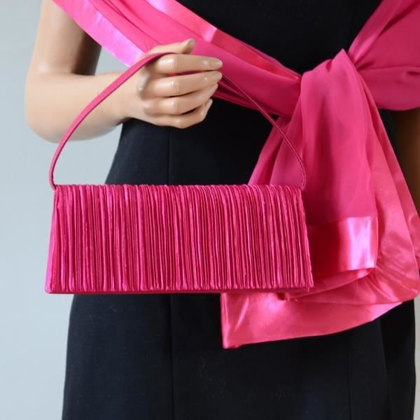 echarpe foulard ensemble coordonn tole et pochette fushia - Tole Mariage Fushia