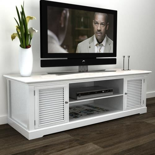 meuble tv blanc en bois achat vente meuble tv meuble tv blanc en bois cdiscount. Black Bedroom Furniture Sets. Home Design Ideas