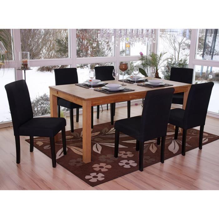 lot de 6 chaises salle a manger salon tissu noir achat vente chaise tissu bois cdiscount. Black Bedroom Furniture Sets. Home Design Ideas