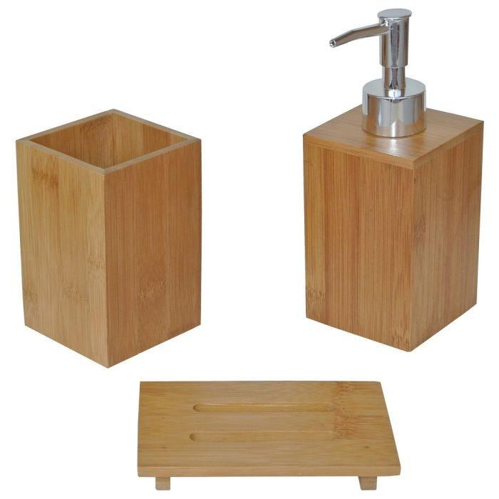 set zen coffret 3 accessoires salle de bain ba achat vente set accessoires bambou cdiscount. Black Bedroom Furniture Sets. Home Design Ideas