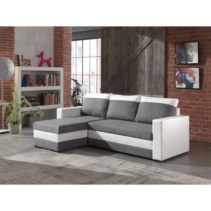 portland canap d 39 angle convertible r versible blanc gris 225x145x85cm achat vente. Black Bedroom Furniture Sets. Home Design Ideas