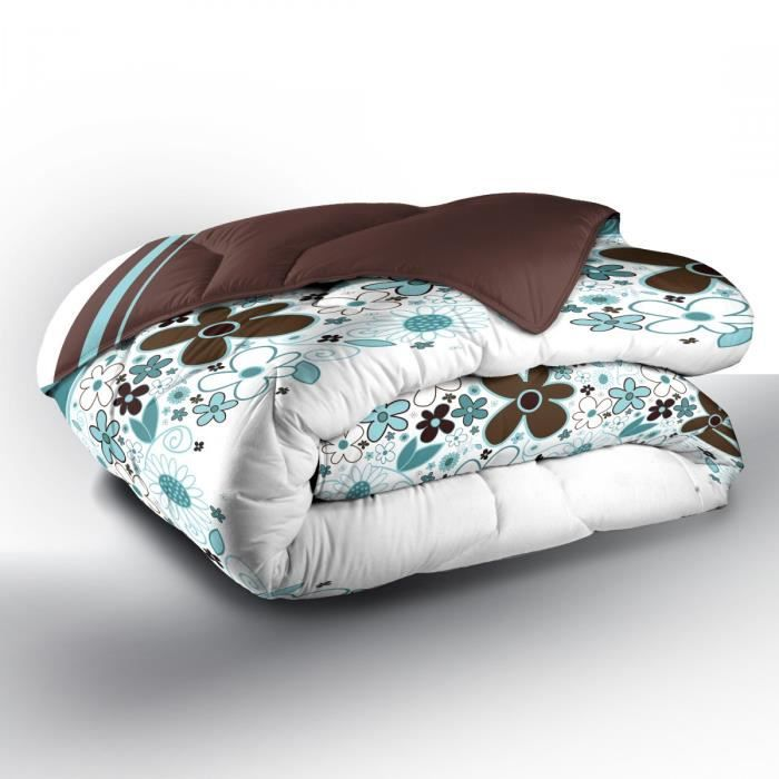 couette imprim e celadon 220x240 cm blanc et turquoise. Black Bedroom Furniture Sets. Home Design Ideas