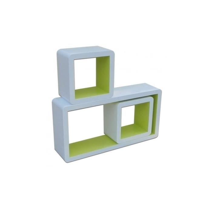 justhome cube cg3031 tag re 3 pi ces couleur blanc vert achat vente meuble tag re. Black Bedroom Furniture Sets. Home Design Ideas