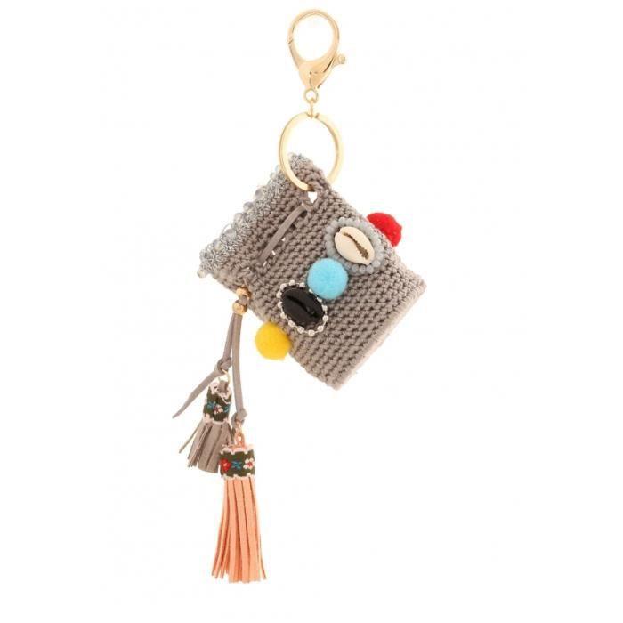 Porte cl bourse coquillages crochet couleur gris for Porte 2 couleurs