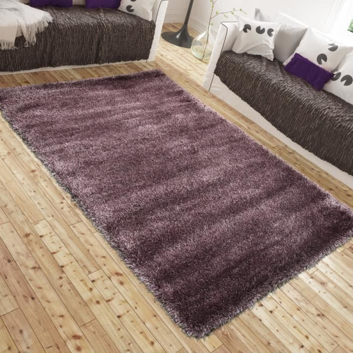 tapis shaggy luxe lotus violet universol achat vente tapis cdiscount. Black Bedroom Furniture Sets. Home Design Ideas