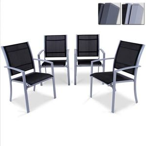 FAUTEUIL JARDIN  Set de 4 chaises de jardin ALST04 Gris clair