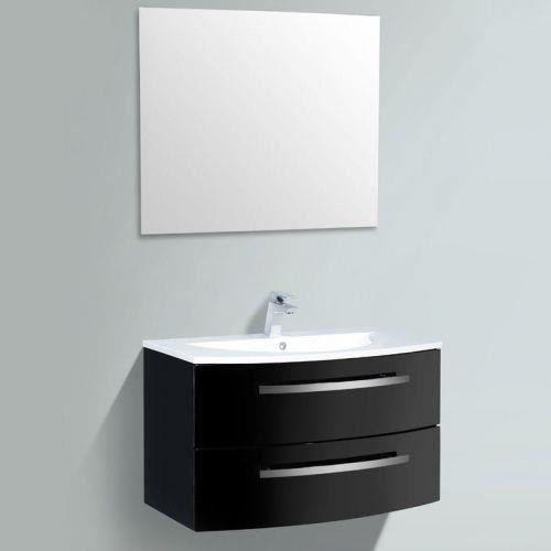 meuble simple vasque courbe 90 noir achat vente meuble vasque plan meuble simple vasque. Black Bedroom Furniture Sets. Home Design Ideas