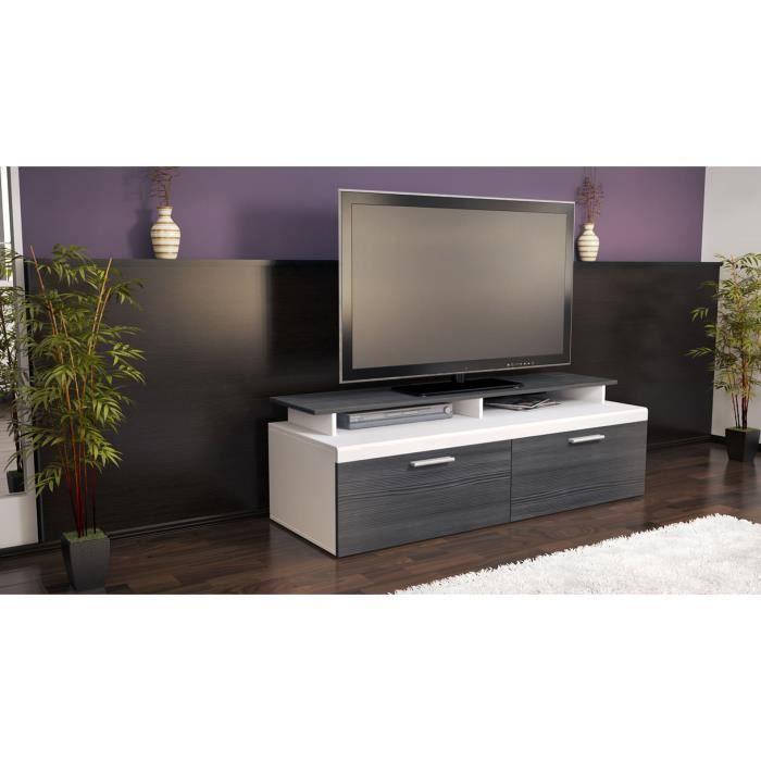 Meuble tv blanc anthracite avec plateau 140 cm achat for Meuble tv blanc plateau bois