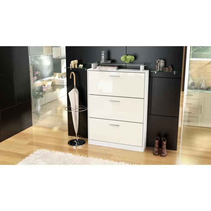 armoire chaussures 24 paires blanche et cr me achat. Black Bedroom Furniture Sets. Home Design Ideas