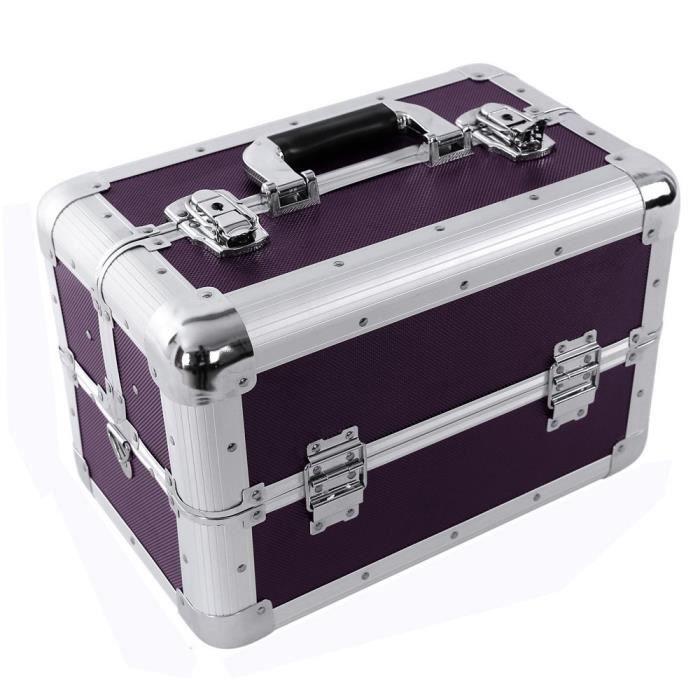 mallette coffrets bo te maquillage bijoux et cosm tique beauty case violet achat vente. Black Bedroom Furniture Sets. Home Design Ideas