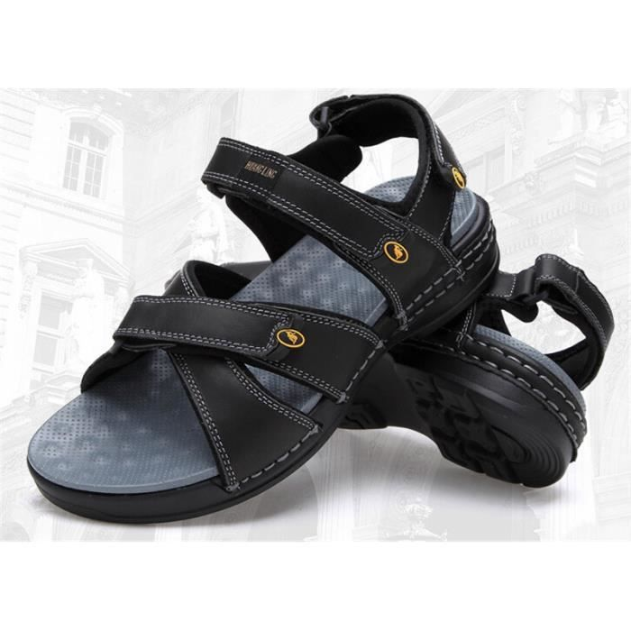 homme sports cuir sandales chaussures noir. Black Bedroom Furniture Sets. Home Design Ideas