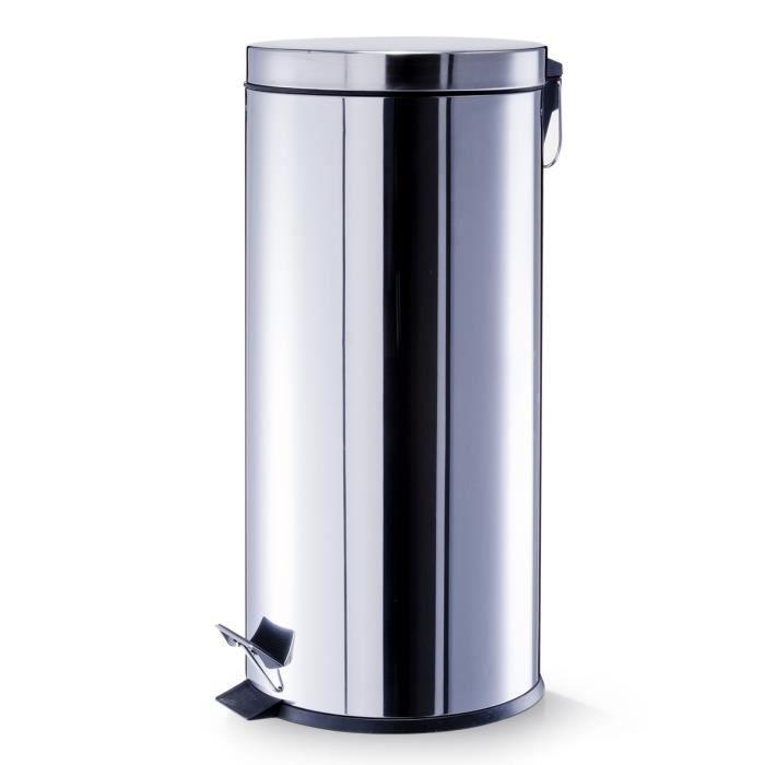 grande poubelle 30 litres en acier inoxidable achat vente poubelle corbeille poubelle. Black Bedroom Furniture Sets. Home Design Ideas