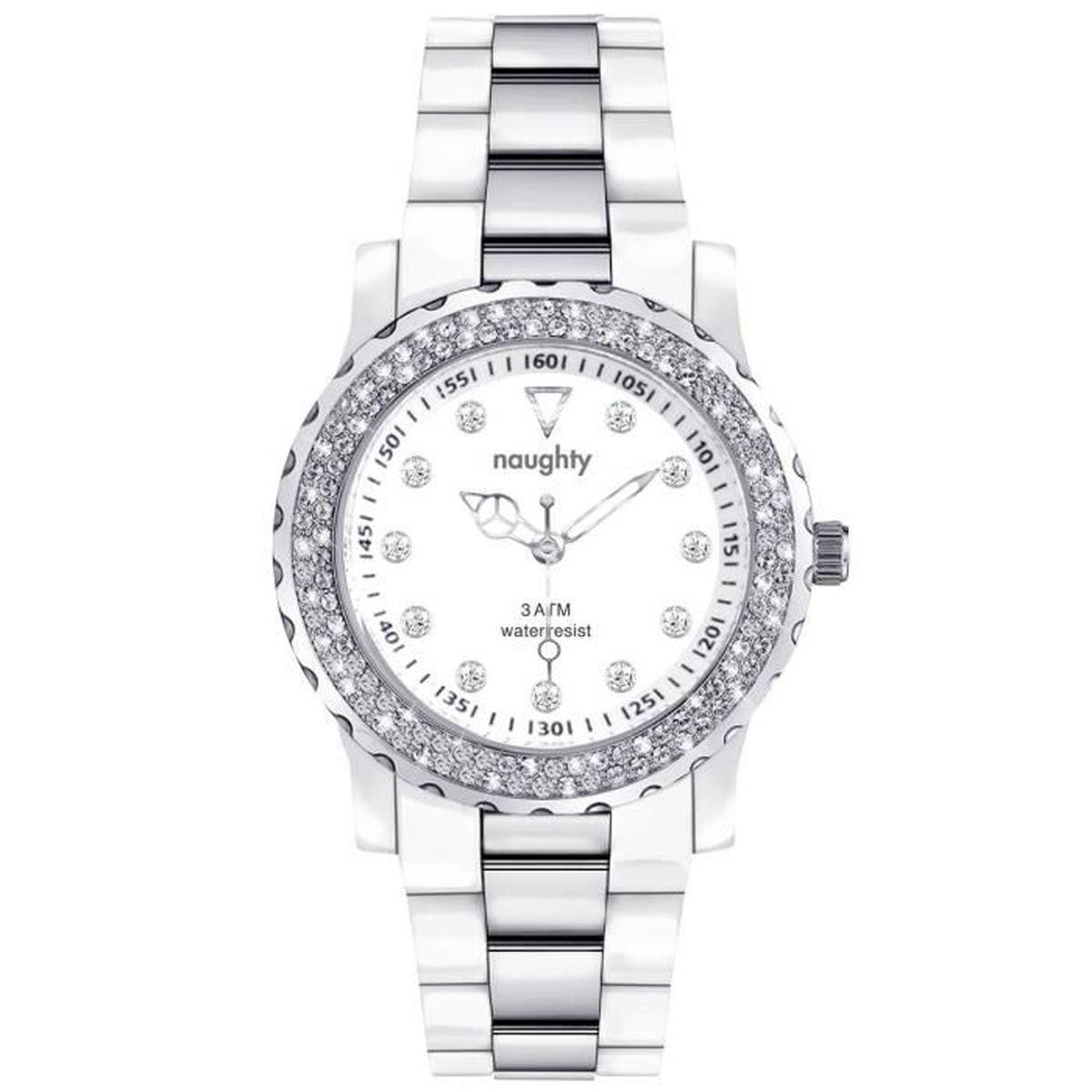 montre femme naughty orn e de 11 cristaux swarovski blanc argent achat vente montre montre. Black Bedroom Furniture Sets. Home Design Ideas