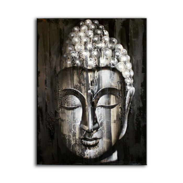 grand tableau bouddha argent 60x80 peint main achat vente tableau toile toile bois. Black Bedroom Furniture Sets. Home Design Ideas