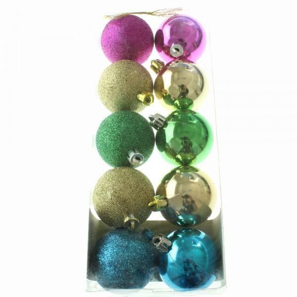 10 boules multicolores achat vente boule de no l. Black Bedroom Furniture Sets. Home Design Ideas