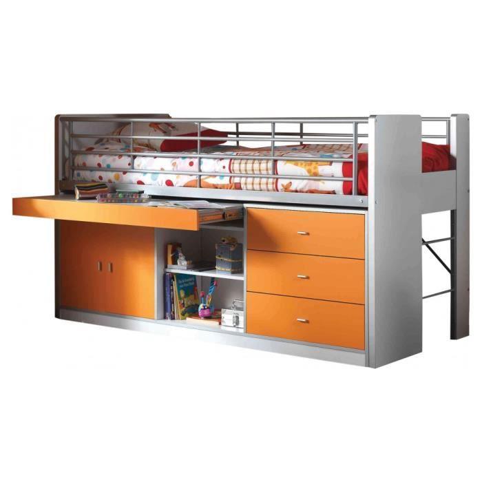lit enfant bureau r tractable laqu orange bonny l90 l120 orange achat vente lavabo pour. Black Bedroom Furniture Sets. Home Design Ideas