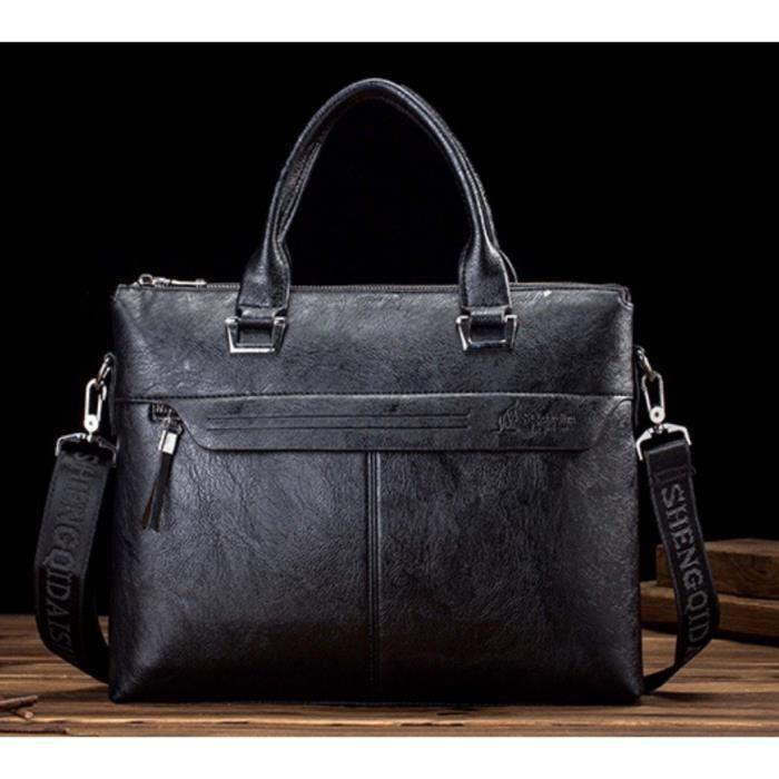 luxe en cuir 15 6 sac de ordinateur sac d 39 affaires sacoche courchevel hommes noir achat. Black Bedroom Furniture Sets. Home Design Ideas