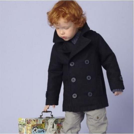 manteau veste duffle coat gar on 3 au 7 ans bleu achat vente manteau caban soldes. Black Bedroom Furniture Sets. Home Design Ideas