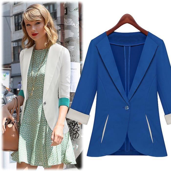 veste femmes femme veste de costume blanc bleu bleu achat vente veste veste femmes femme. Black Bedroom Furniture Sets. Home Design Ideas