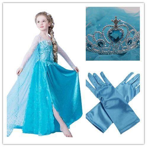 pack d guisement complet costume elsa reine des neiges frozen princesse robe gants diad me. Black Bedroom Furniture Sets. Home Design Ideas