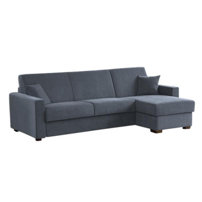 canap lit d 39 angle milano microfibre gris 140x190 achat. Black Bedroom Furniture Sets. Home Design Ideas