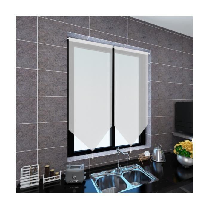 superbe 2 rideaux de cuisine en lin pastiche 60 x 120 cm