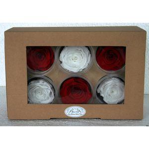 COFFRET THÉMATIQUE ROses éternelles rouges et blanches par six, trois