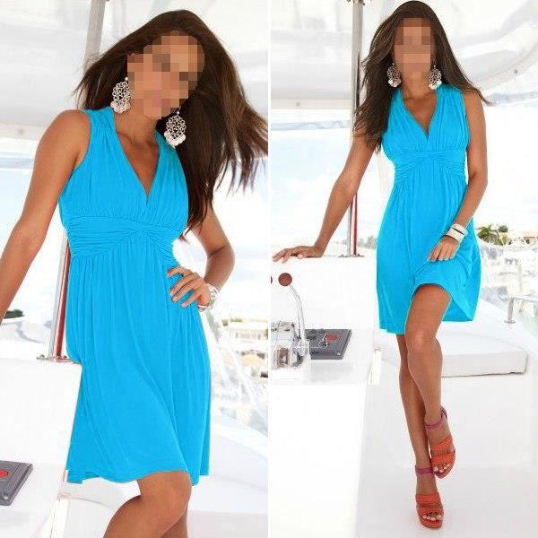 robe d 39 t souple confortable plage coton bleu tu bleu achat vente robe de plage. Black Bedroom Furniture Sets. Home Design Ideas