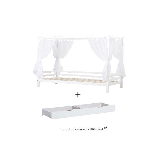 lit baldaquin blanc sans matelas tiroir de rangement voile achat vente chambre compl te. Black Bedroom Furniture Sets. Home Design Ideas