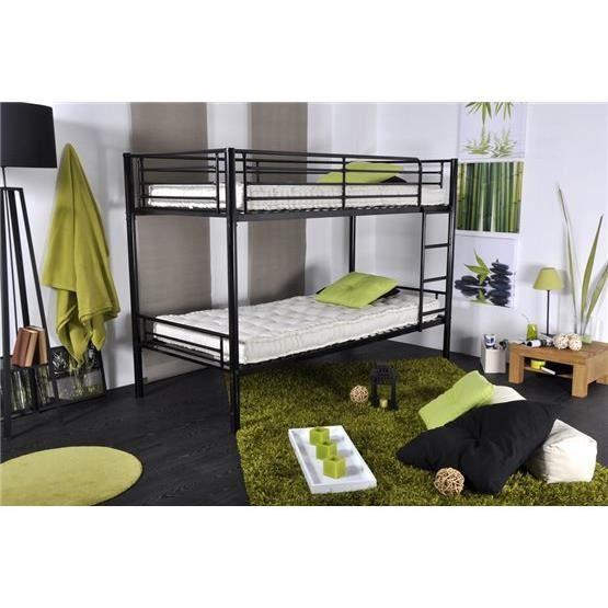 niny lits superpos s en 90x190 noir 90x190 achat vente structure de lit niny lits superpos s. Black Bedroom Furniture Sets. Home Design Ideas