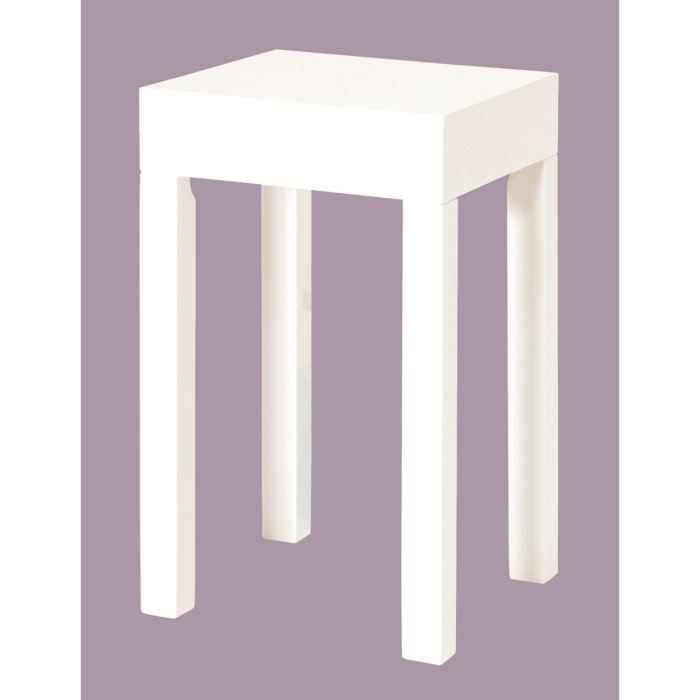 Table d 39 appoint basse gost en bois laqu blanc scintillant achat vent - Table d appoint laque blanc ...