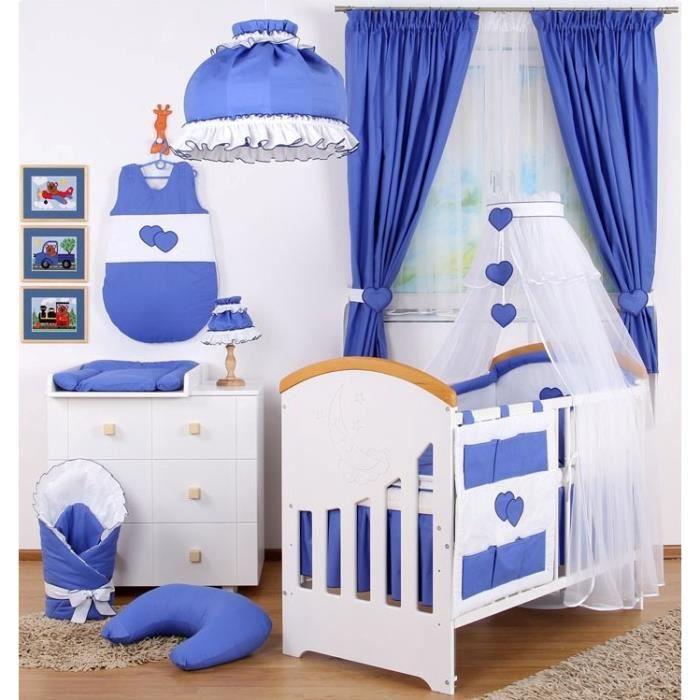 Set xxl de linge chambre b b 18 pcs lampe rideaux bleu mer achat vente parure de lit b b for Rideaux chambre bebe