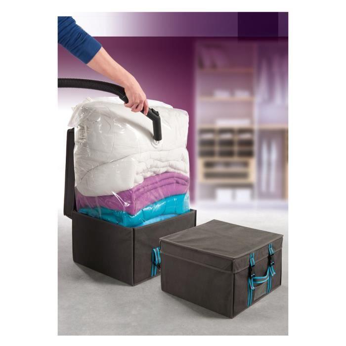 bo te et housse rangement vide d 39 air gris achat. Black Bedroom Furniture Sets. Home Design Ideas
