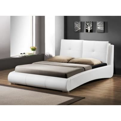 Lit bertin 180x200cm pu blanc achat vente lit complet lit bertin 18 - Lit mezzaclic 140x190 ...