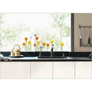stickers vitres fleurs achat vente stickers vitres fleurs pas cher cdiscount. Black Bedroom Furniture Sets. Home Design Ideas