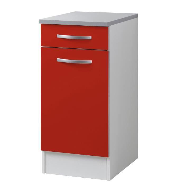 Django meuble de cuisine bas 40cm petite profondeur fa ade rouge mat achat vente elements - Meuble bas cuisine petite profondeur ...