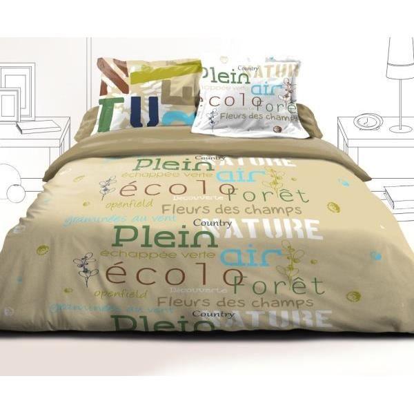 parure drap plat 240x300 cm drap housse 140x190 cm 2 taies d oreiller echappee beige achat. Black Bedroom Furniture Sets. Home Design Ideas